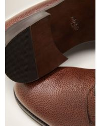 Mango - Brown Pebbled Leather Blucher for Men - Lyst