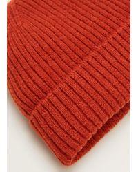 Mango - Orange Ribbed Knit Beanie for Men - Lyst