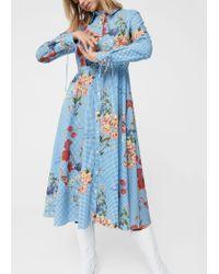 Mango - Blue Dress - Lyst