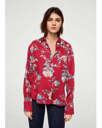 0630a6e36665cf Lyst - Mango Floral Print Shirt in Red