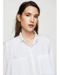 Mango White Cotton Long Shirt