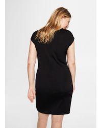 Violeta by Mango - Black Ruched Midi Dress - Lyst