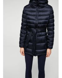 Mango - Blue Hood Quilted Coat - Lyst
