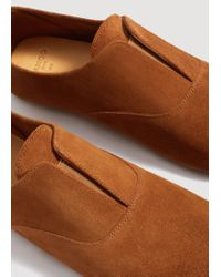 Mango - Brown Suede Leather Babouches - Lyst