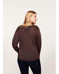 Violeta by Mango - Brown Metallic Sweater - Lyst
