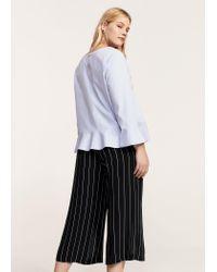 Violeta by Mango | Blue Striped Crop Trousers | Lyst