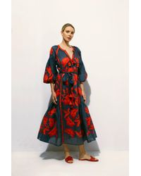 MARCH11 - Multicolor Rose Power Maxi Dress In Navy With Red - Lyst