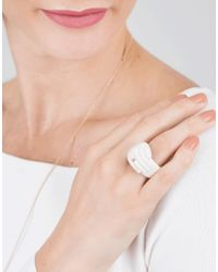Bibi Van Der Velden | Metallic Hand Wrap Ivory Ring | Lyst