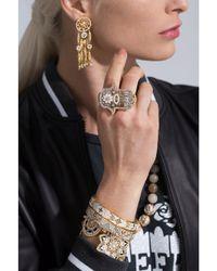 Buddha Mama - Metallic Grey Enamel And Diamond Hamsa Double Ring - Lyst
