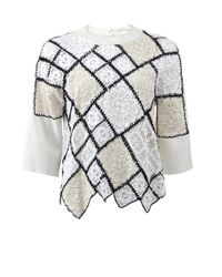 Oscar de la Renta - Natural Lace And Crochet Patchwork Sweater - Lyst