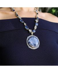 Sylva & Cie - Blue Sapphire And Diamond Pendant - Lyst