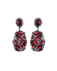 Arunashi | Red Spinel And Diamond Earrings | Lyst