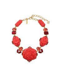 Oscar de la Renta - Red Carved Floral Necklace - Lyst