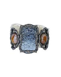Arunashi | Blue Carved Aquamarine And Fire Opal Bracelet | Lyst