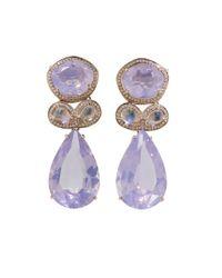 Dana Rebecca | Purple One Of A Kind Lavendar Quartz Earrings | Lyst