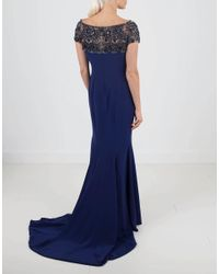 Marchesa - Blue Beaded Gown - Lyst