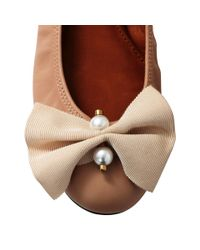 Lanvin - Pink Bow And Pearl Ballerina - Lyst