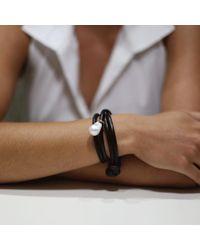 Mizuki - Black Pearl Leather Wrap Bracelet/choker - Lyst