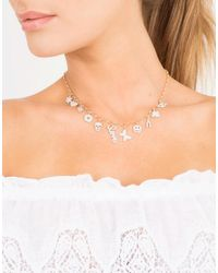 Sydney Evan | Metallic Mini Pave Charm Necklace | Lyst