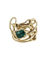 GEMFIELDS X MUSE - Metallic Millefili Ring With Emerald - Lyst