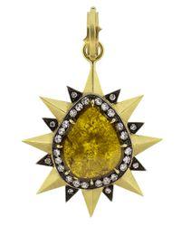 Sylva & Cie - Multicolor Pear Shape Diamond Slice Pendant - Lyst