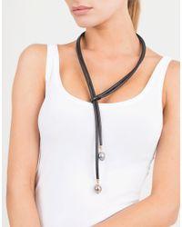 Mizuki - Multicolor Leather Lariat Pearl Necklace - Lyst