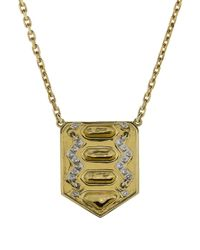 David Webb - Metallic Shield Necklace - Lyst