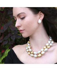 Yvel - Metallic Baroque Fresh Water Pearl Clip Earrings - Lyst