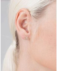 EF Collection - Metallic Diamond Rose Stud Earrings - Lyst