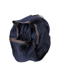 Brunello Cucinelli | Blue Cashmere Silk Check Scarf for Men | Lyst