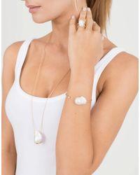 Mizuki - Metallic Freshwater Pearl And Diamond Crossover Ring - Lyst