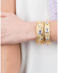 Victor Velyan - Multicolor Moonstone And Diamond Cuff Bracelet - Lyst