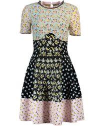 Alexander McQueen - Black Floral Print Knit Dress - Lyst