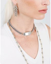 Sylva & Cie - Metallic Grey Diamond Id Wrap Bracelet - Lyst