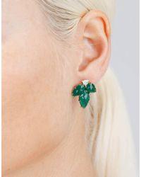 Sylva & Cie - Green Emerald Leaf Earrings - Lyst