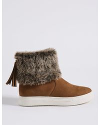 Marks & Spencer - Brown Side Zip Tassel Fur Ankle Boots - Lyst