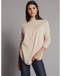 Marks & Spencer - Natural Pure Cashmere Curved Hem Funnel Neck Jumper - Lyst