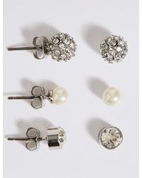 Marks & Spencer - Multicolor Pearl Effect Snowball Diamanté Stud Trio Earrings Set - Lyst
