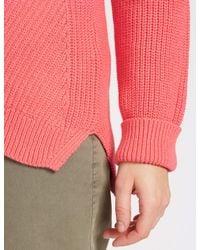 Marks & Spencer - Pink Pure Cotton Cable Knit Slash Neck Jumper - Lyst