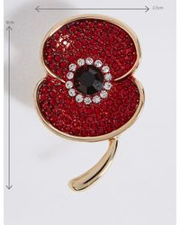 Marks & Spencer The Poppy Collection® Sparkle Poppy Brooch in Red - Lyst
