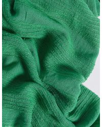 Marks & Spencer - Green Chenille Striped Scarf - Lyst