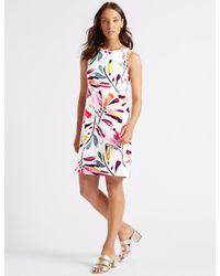 8d2ee2c27db Lyst - Marks & Spencer Linen Blend Daisy Print Tunic Dress in White