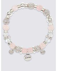Marks & Spencer | Multicolor Sparkle Heart Charm Stretch Bracelet | Lyst