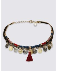 Marks & Spencer - Metallic Charmy Disc Choker Necklace - Lyst
