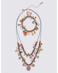 Marks & Spencer | Metallic Charm Droplet Necklace & Bracelet Set | Lyst