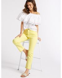 Marks & Spencer - Yellow Sculpt & Lift Roma Rise Slim Leg Jeans - Lyst