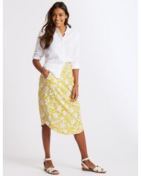 b58084749685 Marks & Spencer Floral Print Jersey A-line Midi Skirt in Yellow - Lyst