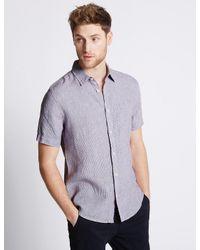 Marks & Spencer - Purple Pure Linen Easy Care Slim Fit Shirt for Men - Lyst