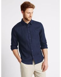 Marks & Spencer - Blue Pure Linen Easy Care Slim Fit Shirt for Men - Lyst
