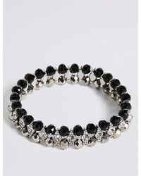 Marks & Spencer - Metallic Diamanté Glamour Rows Bracelet - Lyst